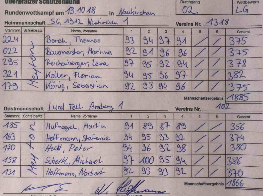2. RWK 1. LG gegen AMBERG