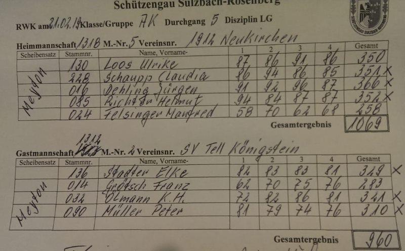 5.RWK Alterklasse gegen Königstein
