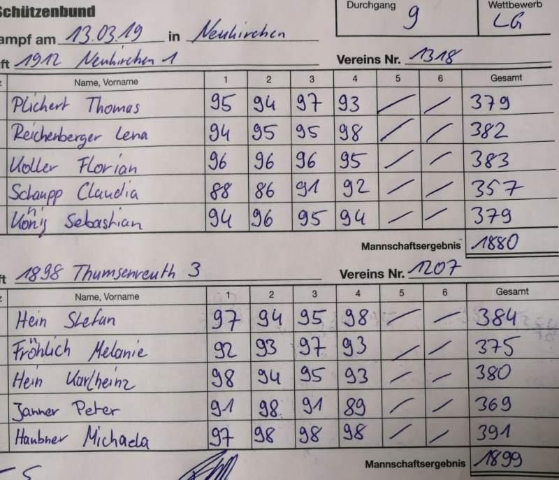 9.RWK 1.LG gegen Thumsenreuth
